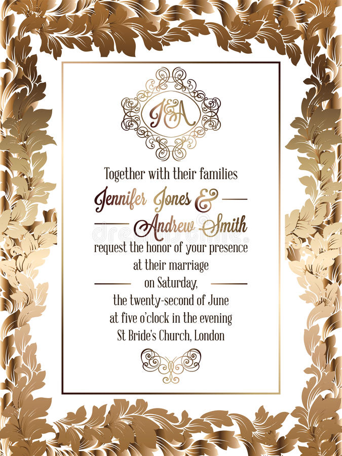 Vintage baroque style wedding invitation card template. royalty free illustration