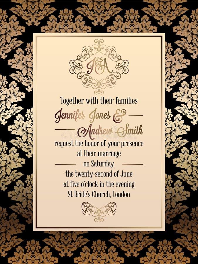 Vintage baroque style wedding invitation card template stock vector download vintage baroque style wedding invitation card template stock vector illustration of elegant stopboris Image collections