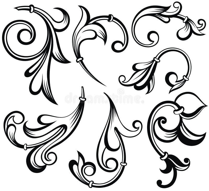 Vintage Baroque tattoo floral ornament leafs stock illustration