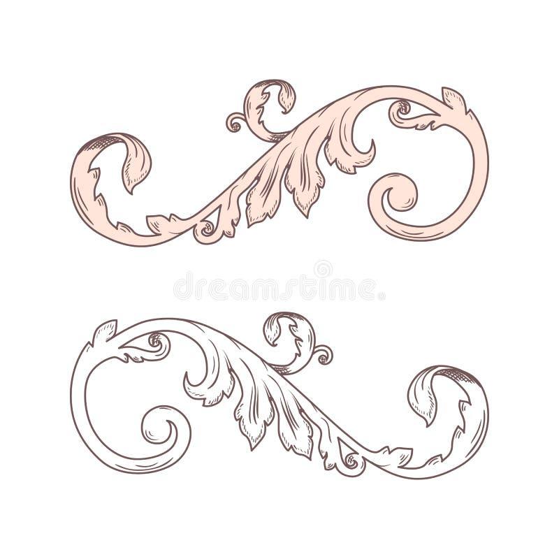 Vintage Baroque Victorian frame border monogram floral ornament leaf scroll engraved retro flower pattern decorative design tattoo vector illustration