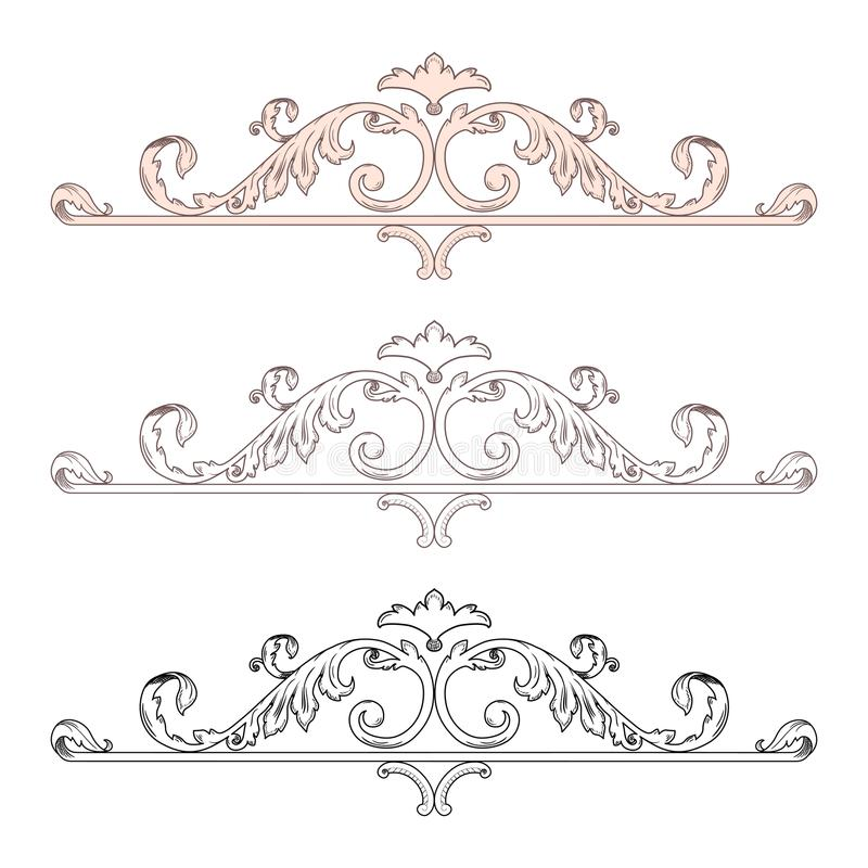 Vintage Baroque Victorian frame border monogram floral ornament leaf scroll engraved retro flower pattern decorative design tattoo vector illustration
