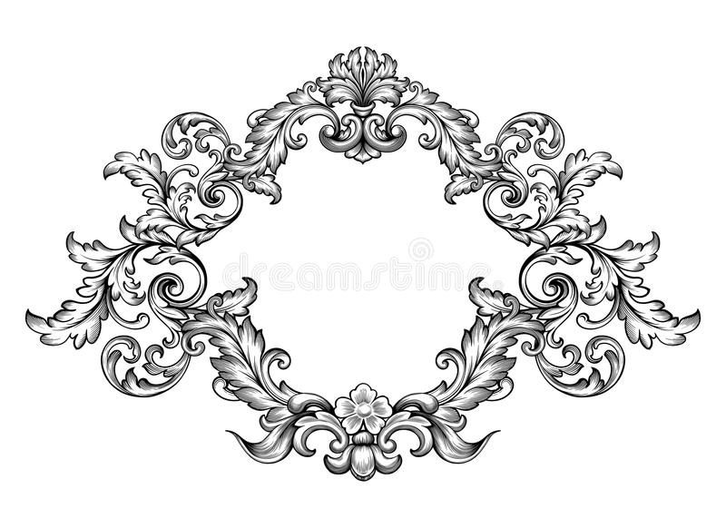 Download Vintage Baroque Victorian Frame Border Monogram Floral Ornament Scroll Engraved Retro Pattern Tattoo Calligraphic Stock