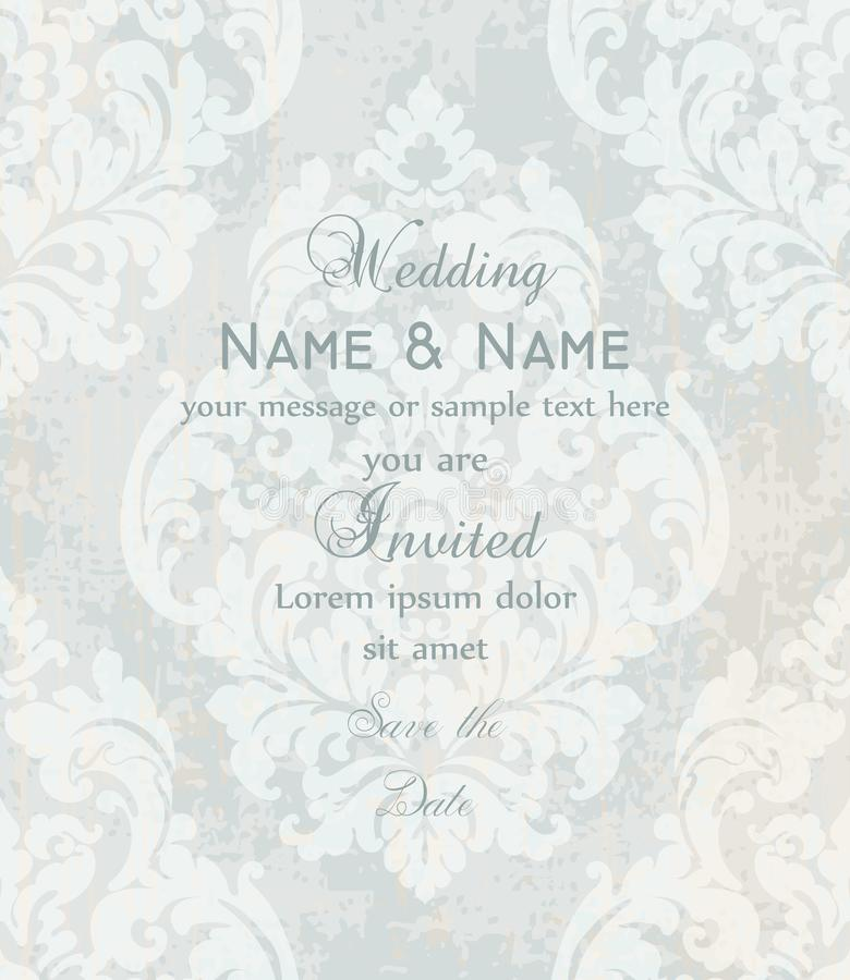 Vintage Baroque Victorian Invitation card Vector. Floral ornament decoration. Light colors. Vintage Baroque Victorian Invitation card Vector. Floral ornament royalty free illustration