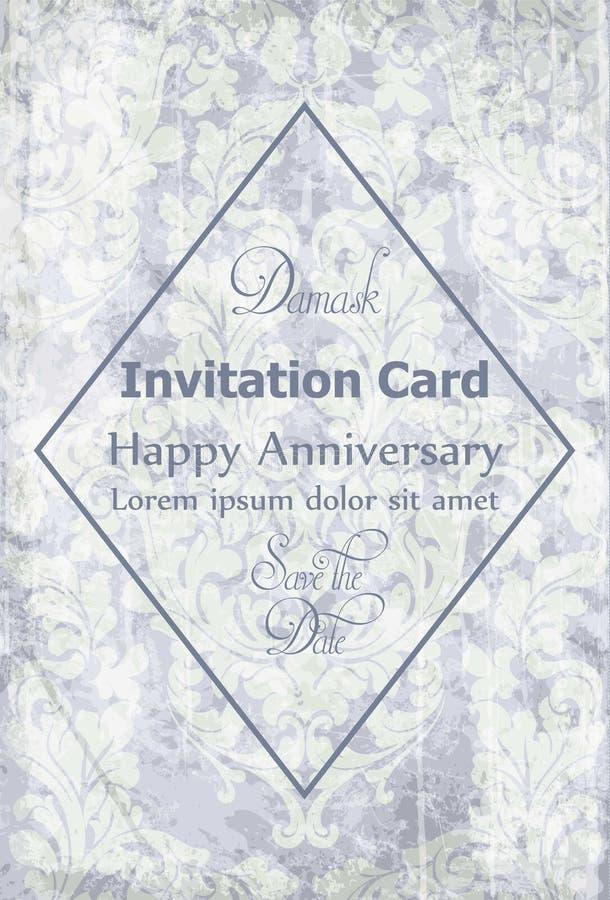 Vintage Baroque Victorian Invitation card Vector. Floral ornament decoration. Light lavender colors stock illustration