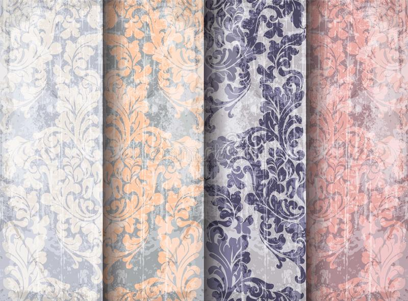 Vintage Baroque Victorian pattern set Vector. Floral ornament decoration. Leaf scroll engraved retro grunge texture design. Pastel stock illustration