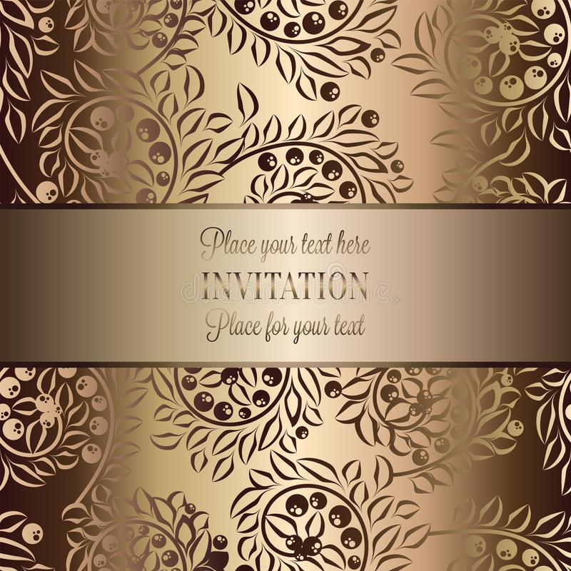 Vintage baroque Wedding Invitation template with butterfly background. Traditional decoration for wedding. Vector illustration in. Beige and gold vector illustration