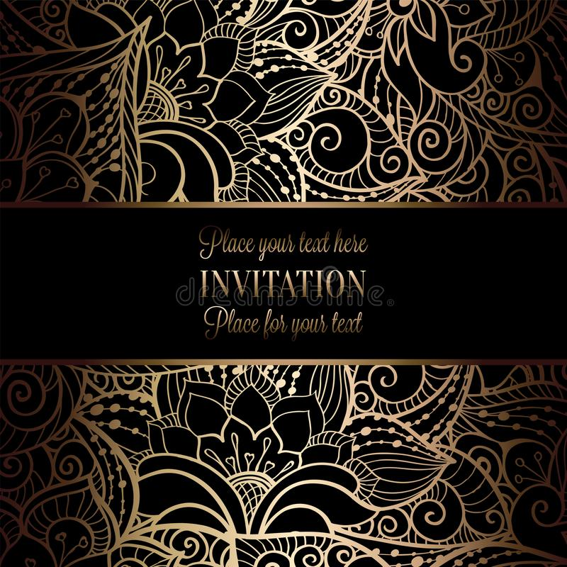 Vintage baroque Wedding Invitation template. With damask background. Tradition decoration for wedding. Vector illustration in black and gold royalty free illustration