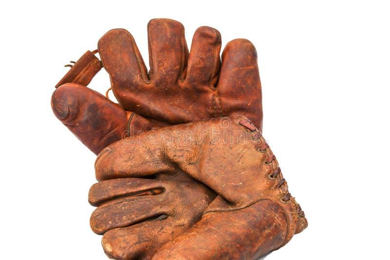 Vintage baseball gloves royalty free stock images