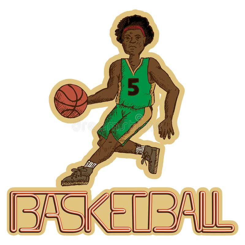 Vintage basketball player with the writing basketball stock images