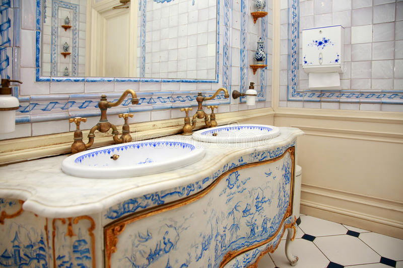 Vintage bath room. In the Dutch style royalty free stock photo