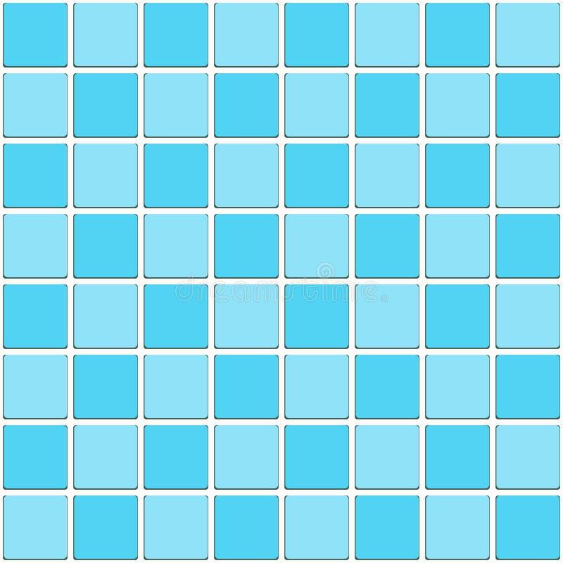 Vintage Bathroom Aqua Blue Tiled Mosaic Seamless Pattern royalty free illustration