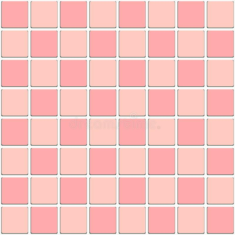 Vintage Bathroom Pink Tiled Mosaic Seamless Pattern stock illustration
