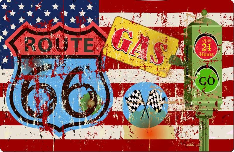 Vintage battered route 66 gas station sign, vector illustration stock illustration