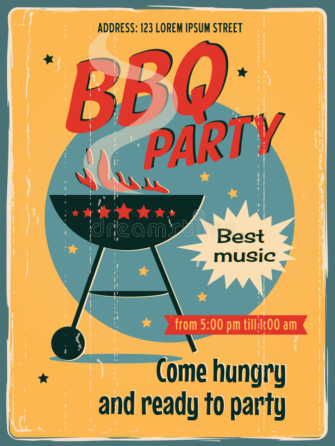 Vintage BBQ Grill Party. Retro vector banner with a BBQ. Vintage poster template for BBQ party. Retro label or banner design royalty free illustration