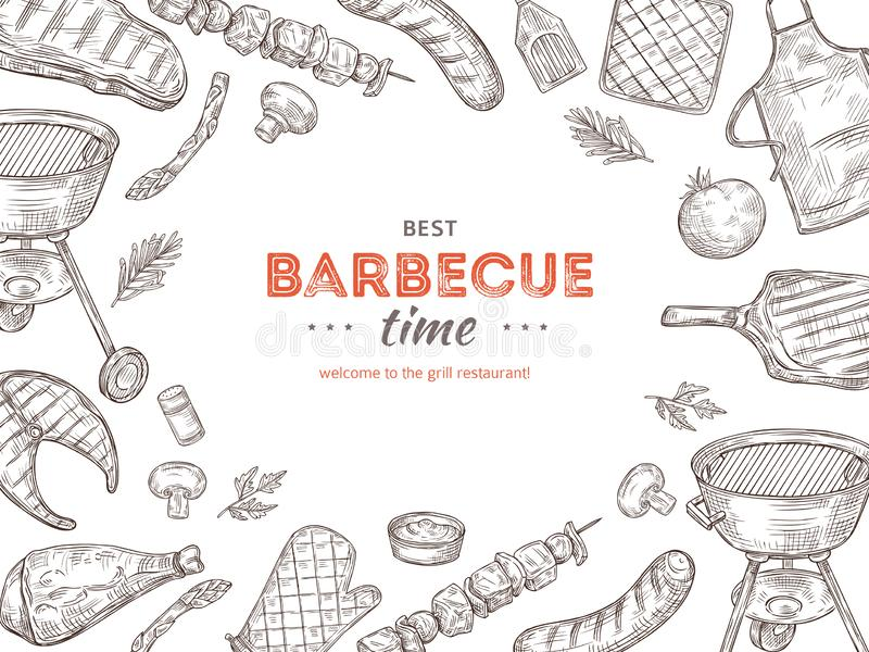 Vintage bbq poster. Barbeque doodle grill chicken barbecue grilled vegetables fried steak meat picnic summer party stock illustration