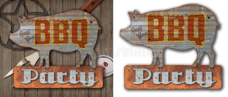 Vintage BBQ Sign on Old Wood Background stock illustration