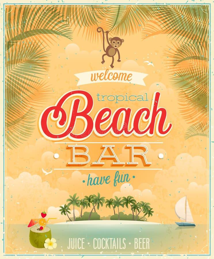 Vintage Beach Bar Poster. Stock Vector. Illustration Of
