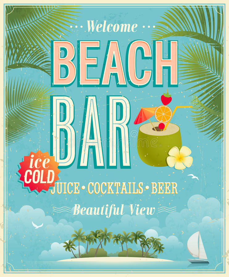 Download Vintage Beach Bar poster. stock vector. Illustration of cold - 30455823