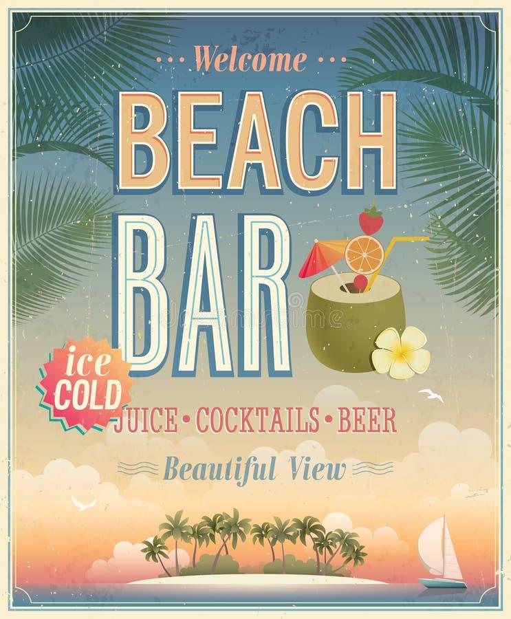 Vintage Beach Bar poster. royalty free illustration