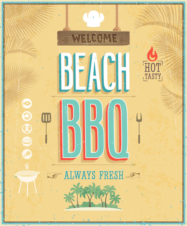 Vintage Beach Background Stock Photo 112981333: Vintage Beach BBQ Poster. Vector Background. Royalty Free