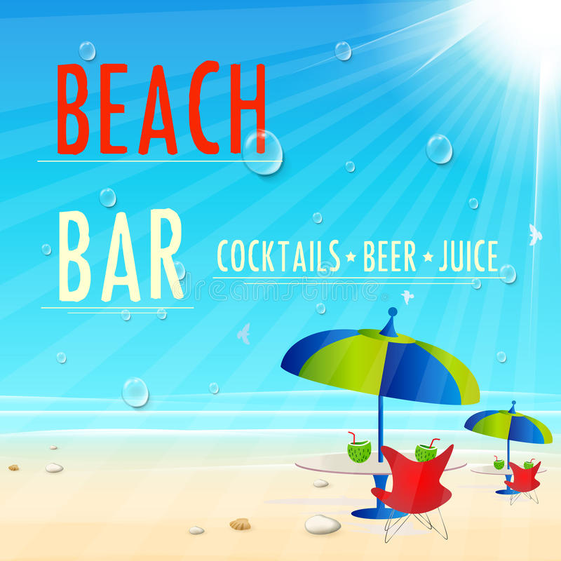 Vintage Beach Juice Bar poster stock illustration