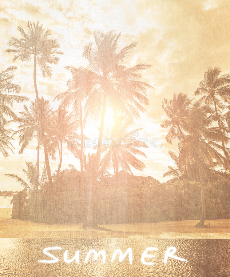 Vintage beach wallpaper. Old retro postcard with text space , abstract natural background, fade texture of exotic tropical nature, travel and tourism concept stock photos