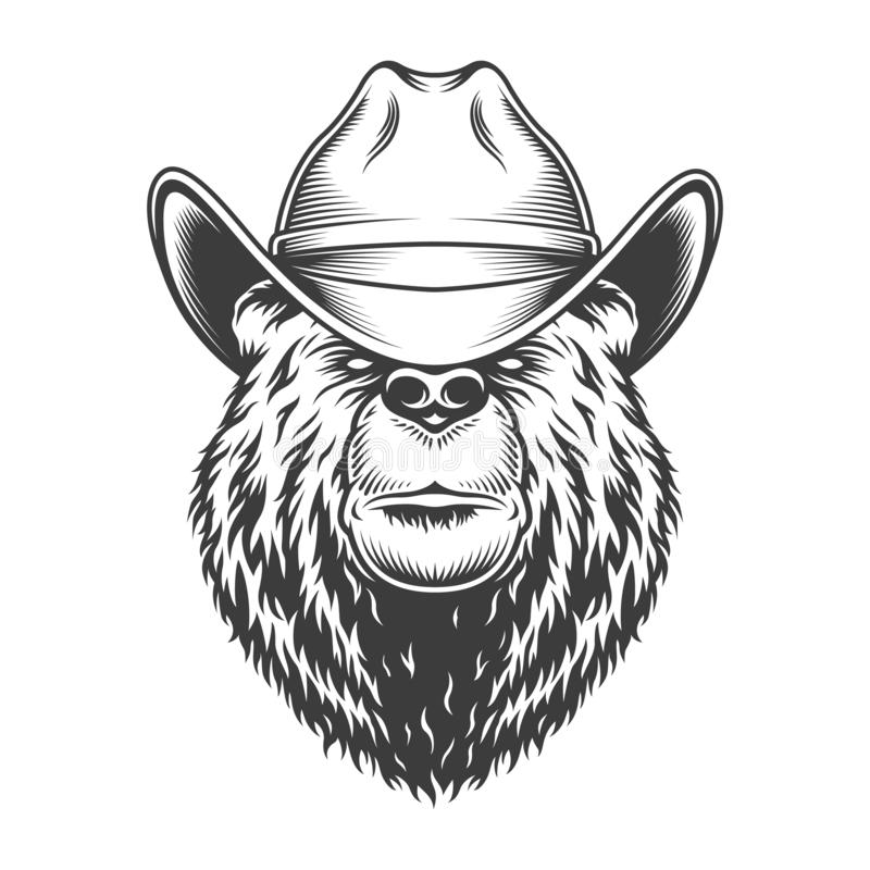 Vintage bear head in cowboy hat stock illustration