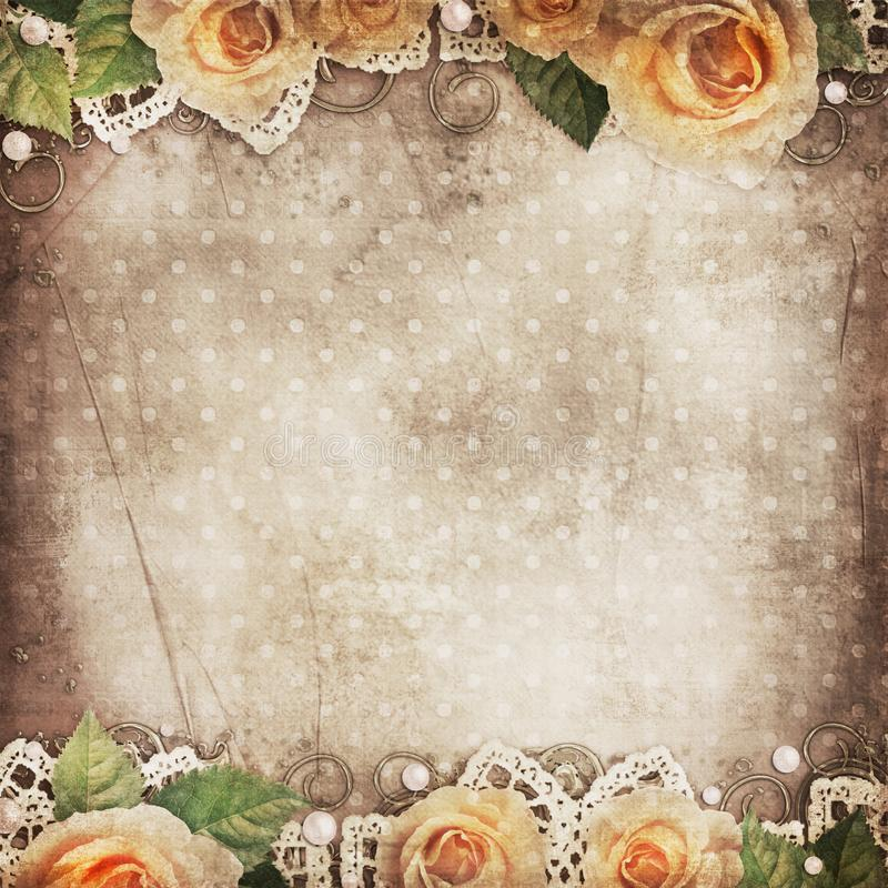 Vintage beautiful background with   roses, lace, pearls vector illustration