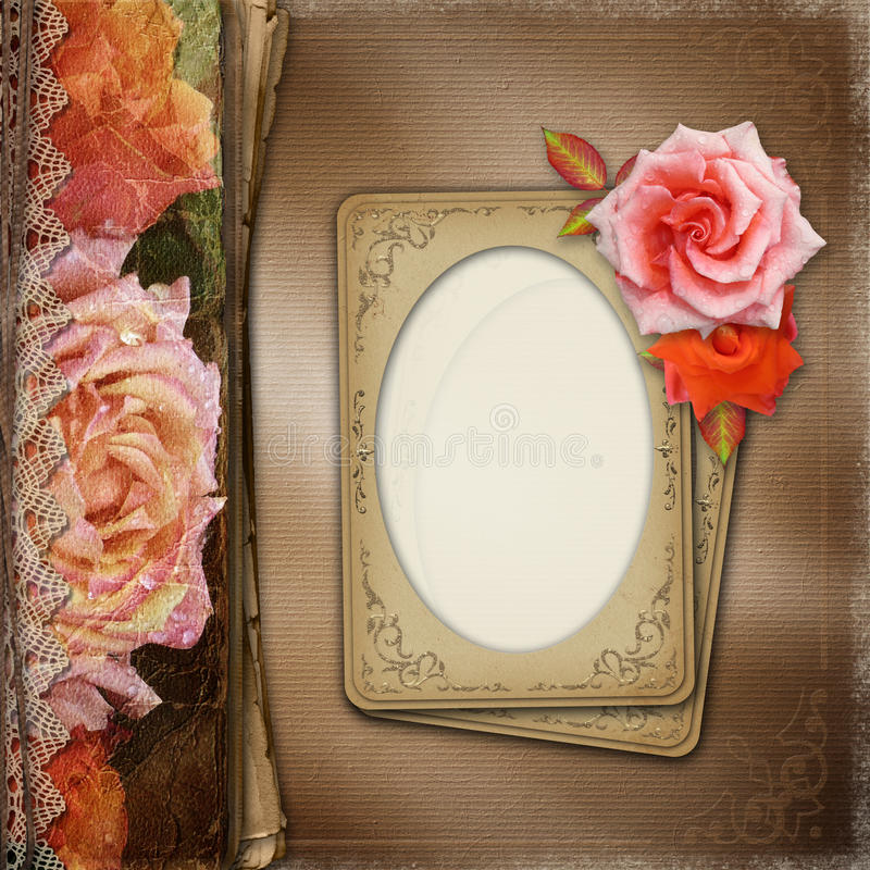 Vintage Beautiful Roses Album Cover With Lace And Old Paper ( 1 stock image