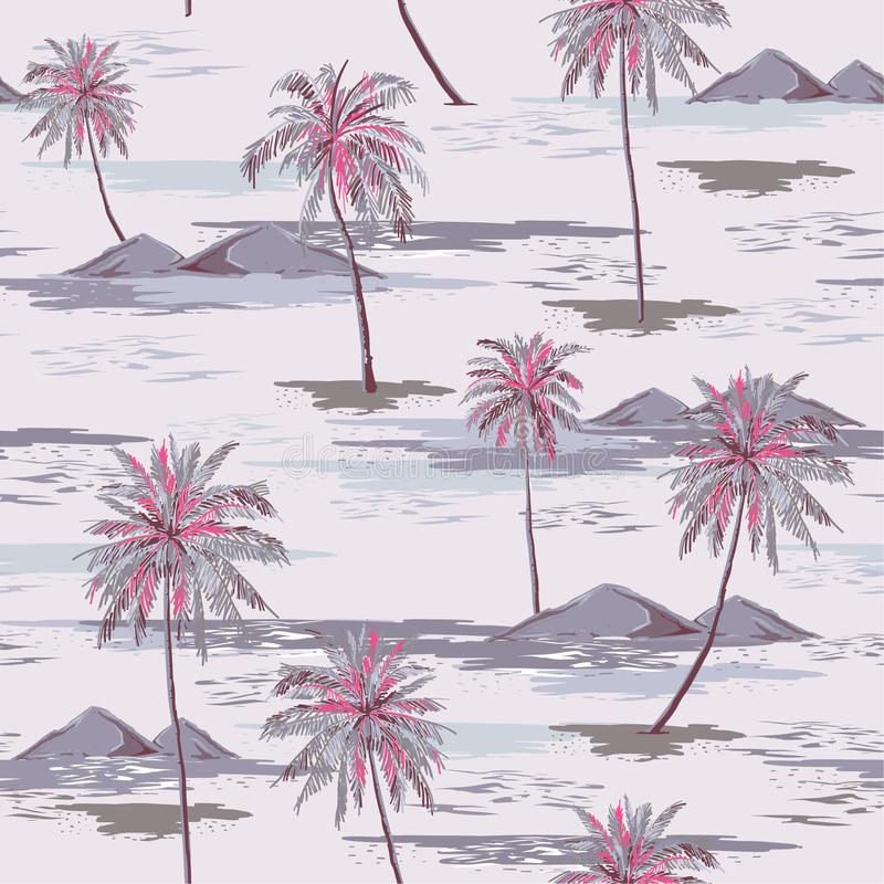 Vintage Beautiful seamless island pattern Landscape with colorful palm trees,beach and ocean vector hand drawn style. On light grey color background vector illustration