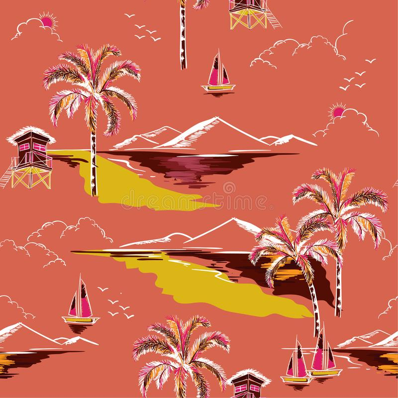 Vintage Beautiful seamless island pattern vector. Landscape with. Palm trees,beach and ocean vector hand drawn style on orange color background stock illustration