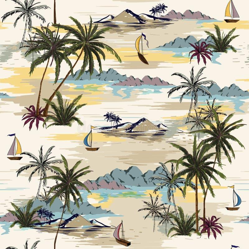 Vintage Beautiful seamless island pattern on white background. L vector illustration