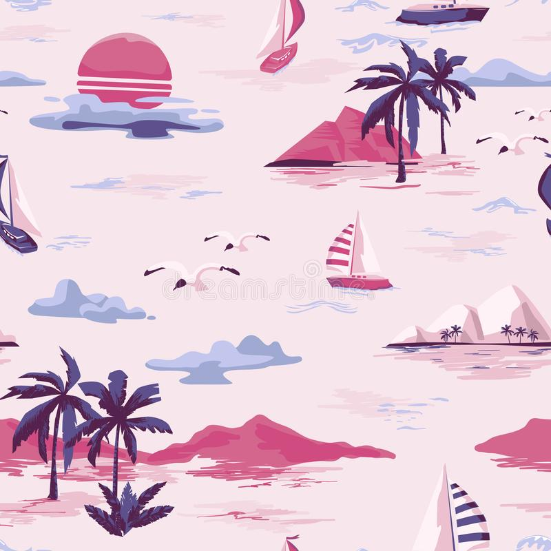 Vintage Beautiful seamless island pattern on white background. Landscape with palm trees, yacht, beach and ocean hand drawn style. Vintage Beautiful seamless stock illustration