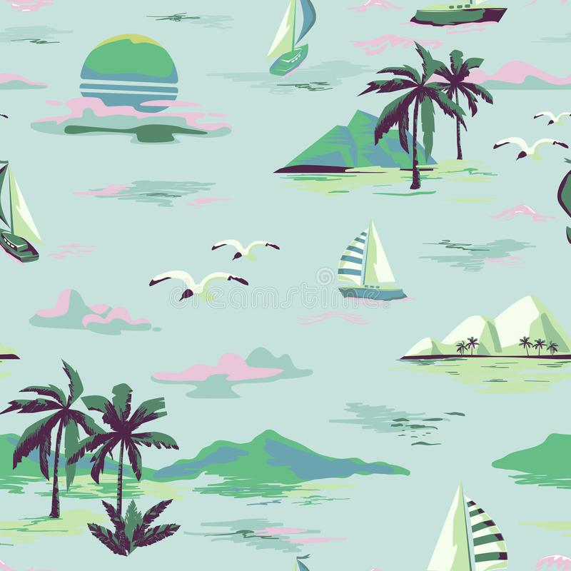 Vintage Beautiful seamless island pattern on white background. Landscape with palm trees, yacht, beach and ocean hand drawn style. Vintage Beautiful seamless vector illustration