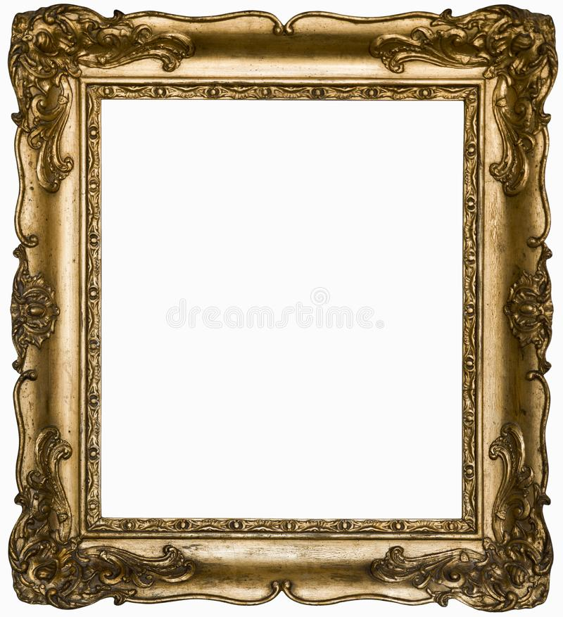 Vintage beautiful silver rectangular frame with an ornament isolated on white. stock image
