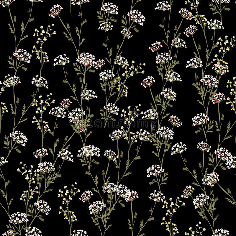 Vintage Beautiful and trendy Seamless Pattern meadow flowers, Isolated on summer black color. Botanical Floral Decoration vector illustration