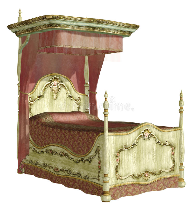 Vintage bed 1. 3D render of a vintage bed stock illustration
