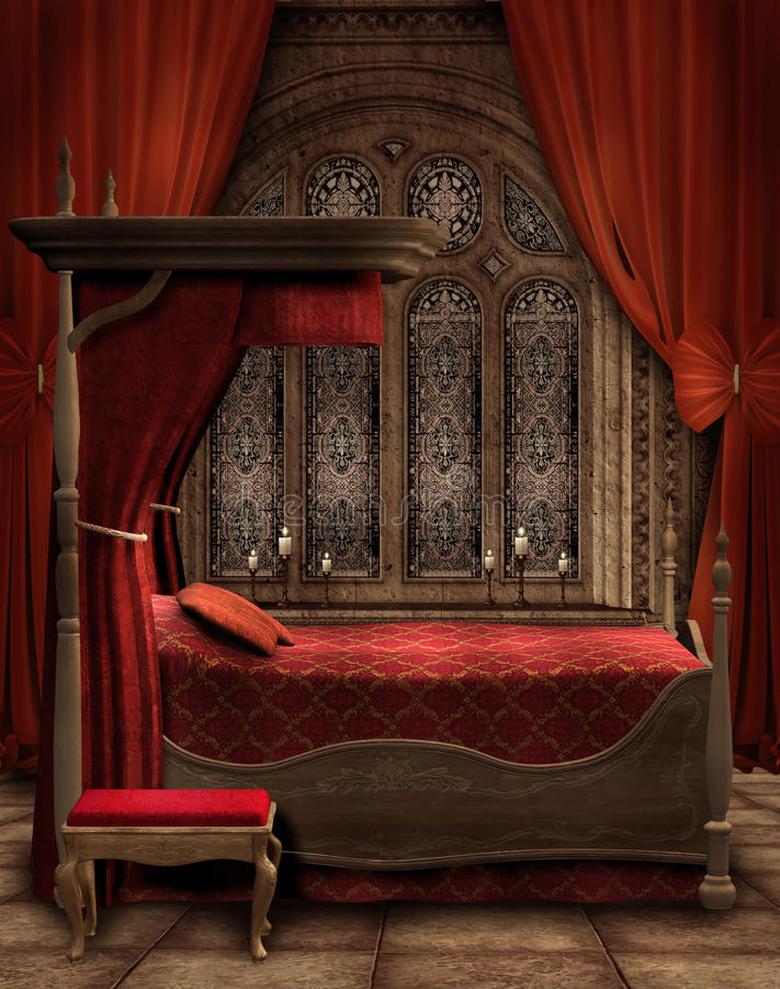 Download Vintage Bedroom With Candles Stock Illustration - Image: 19009118
