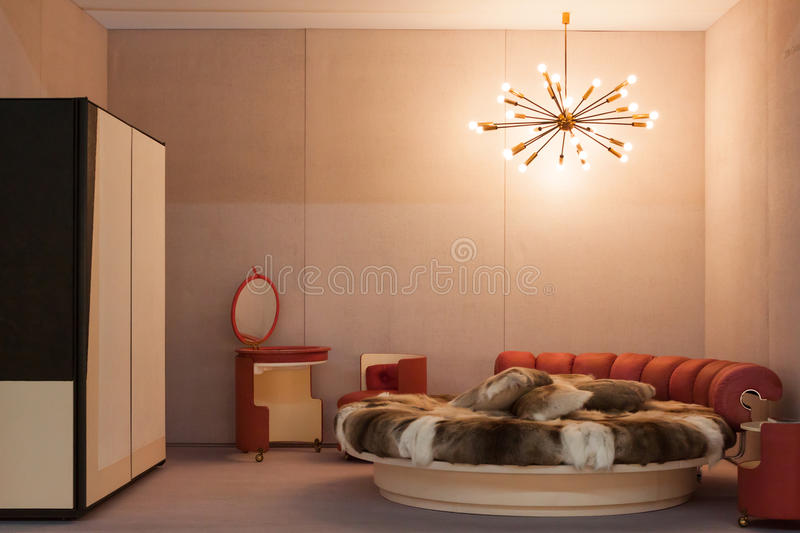 Vintage bedroom at Miart 2014 in Milan, Italy royalty free stock photos