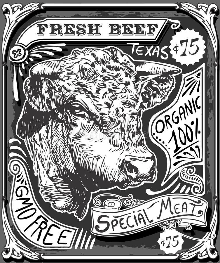 Vintage Beef Advertising Page on Blackboard stock illustration