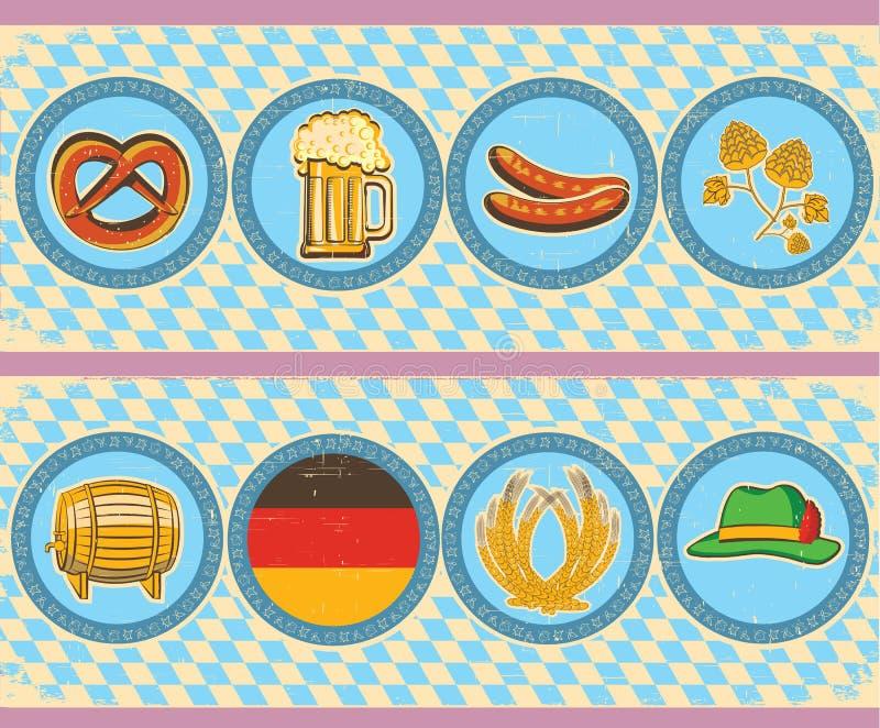 Vintage beer elements with oktoberfest symbol on o vector illustration