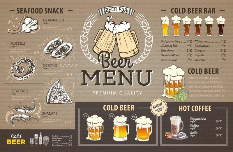 Vintage beer menu design on cardboard. Restaurant menu stock illustration