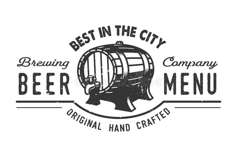 Vintage beer pub logo concept. With wooden barrel and letterings isolated vector illustration vector illustration