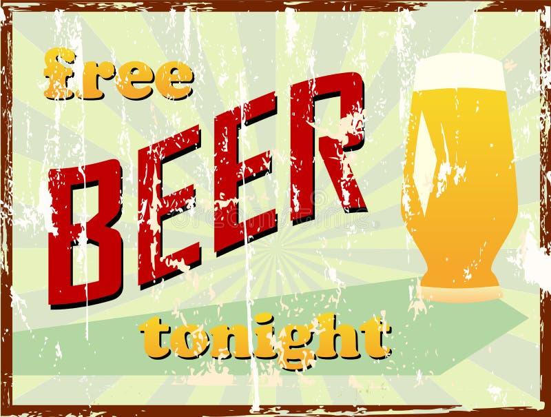 Vintage beer sign, grungy, royalty free illustration
