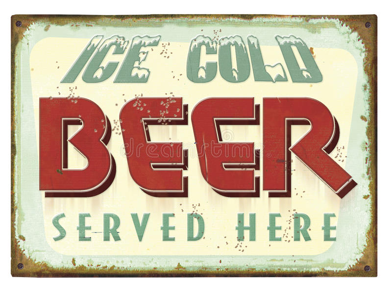 Vintage Beer Tin Sign Poster vector illustration
