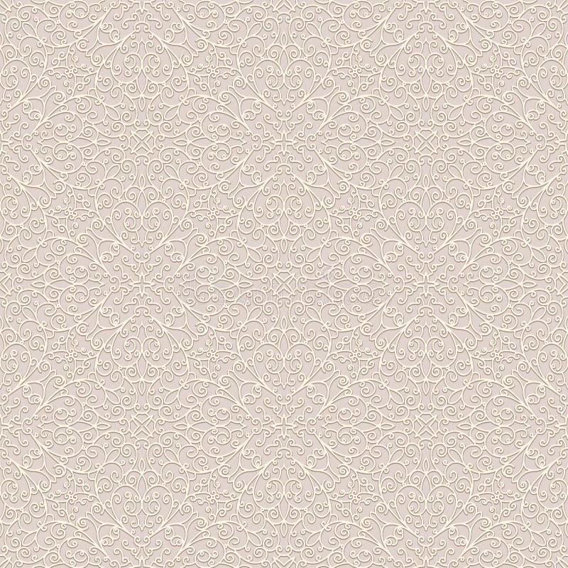 Vintage beige background, subtle seamless pattern vector illustration