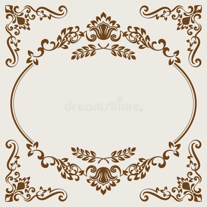Vintage beige and brown floral frame card template. vector illustration