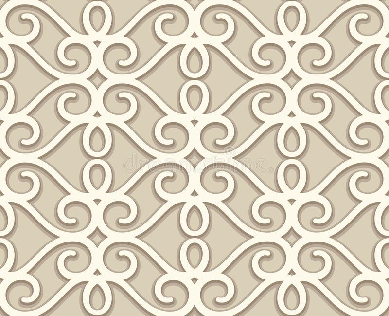 Vintage beige lace texture, swirly seamless pattern. Vintage beige lace texture, decorative ornamental tile, swirly seamless pattern, elegant decoration for stock illustration