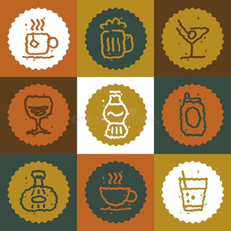 Vintage Beverages icons set. Vector Illustration stock illustration