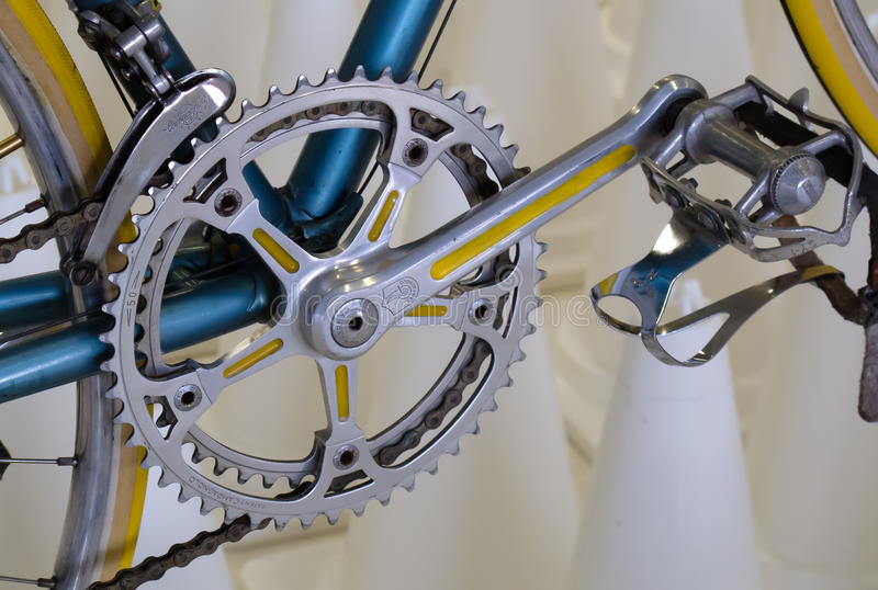 Vintage bicycle component CAMPAGNOLO: Crankset, Pedals. Equipped on Italian bicycle stock images